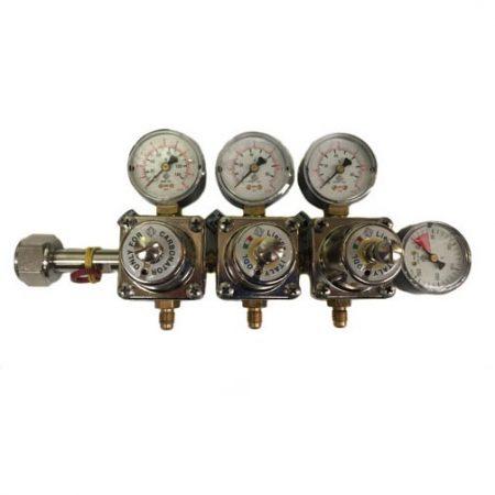CO2 Regulator ODL 3-Way 140PSI+2x80PSI LH Bottle Mount