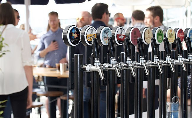 Perlick Taps At Dr Rudi's Rooftop Brewing Co., Auckland Viaduct.